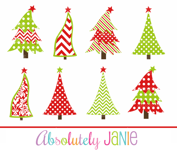 Outdoor Christmas Decorations Clipart: Whimsical Christmas Tree Clipart