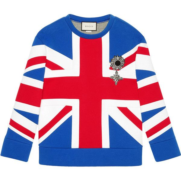 Gucci Union Jack jersey sweatshirt (€1.860) ❤ liked on Polyvore featuring  tops,