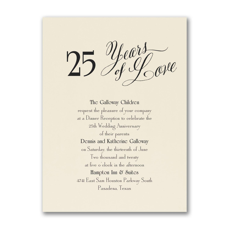 Years of Love 25th Anniversary Invitation - Ecru https ...