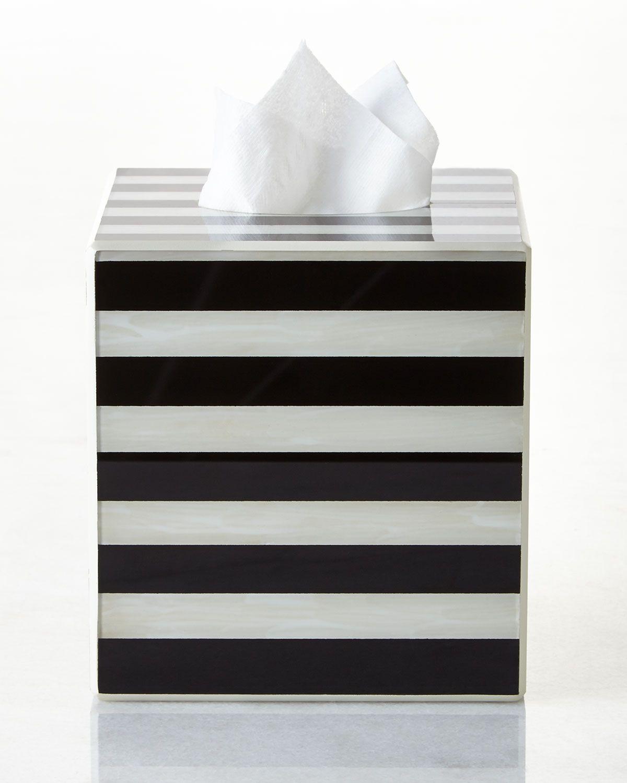 Striped Tissue Box Cover Black Ivory Waylande Gregory
