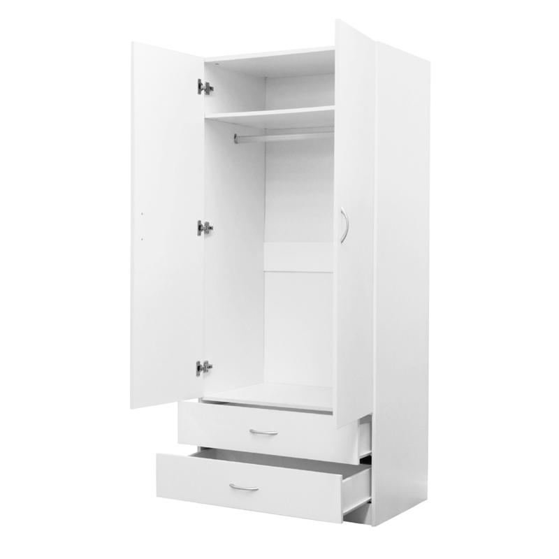 Montgomery 1800 X 800 X 520mm White 2 Door 2 Drawer Wardrobe Drawers Wardrobe Furniture Locker Storage