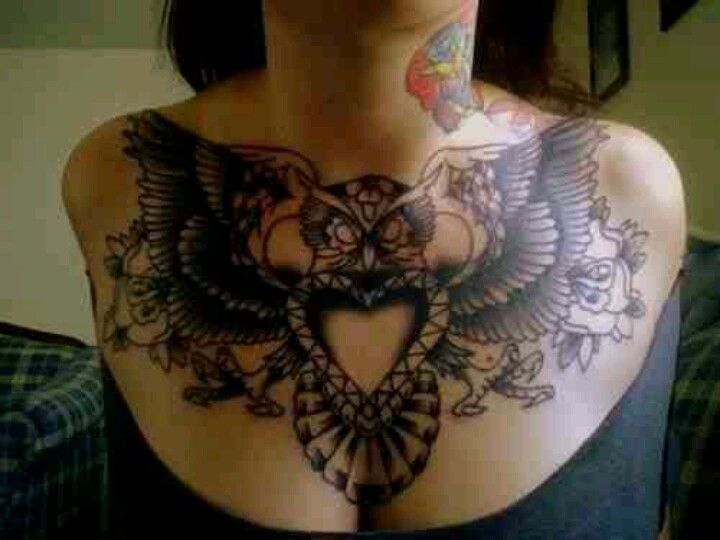 Owl chest tattoo, heart, roses, ink | CHeST PieCeS ...