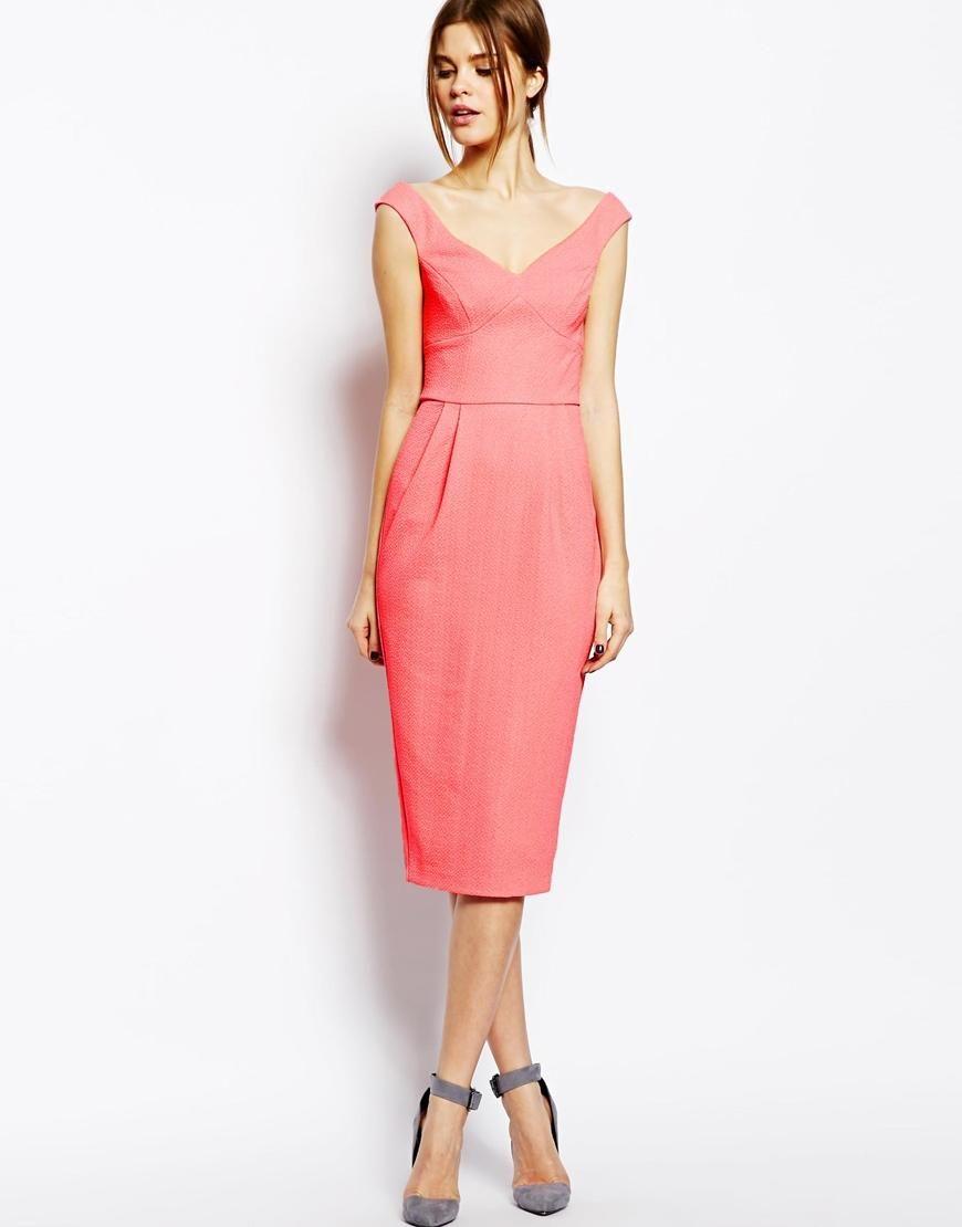 ASOS | ASOS Texured Bardot Pencil Dress at ASOS | Bridesmaids ...