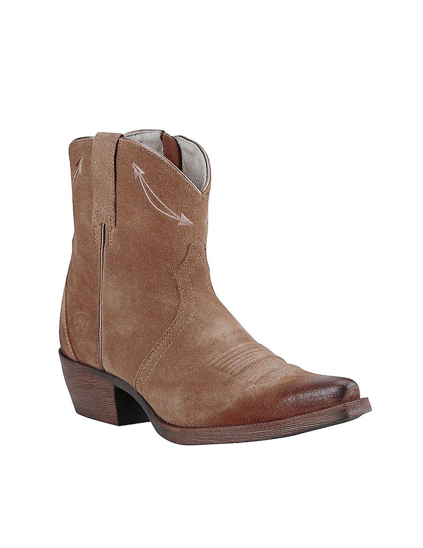 Ariat Women's Driftwood Tan Shorty Western Snip Toe Boots