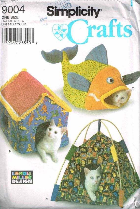 Pet Bed Sewing Pattern. Make a Tent, Fish and House for Cats and by ...