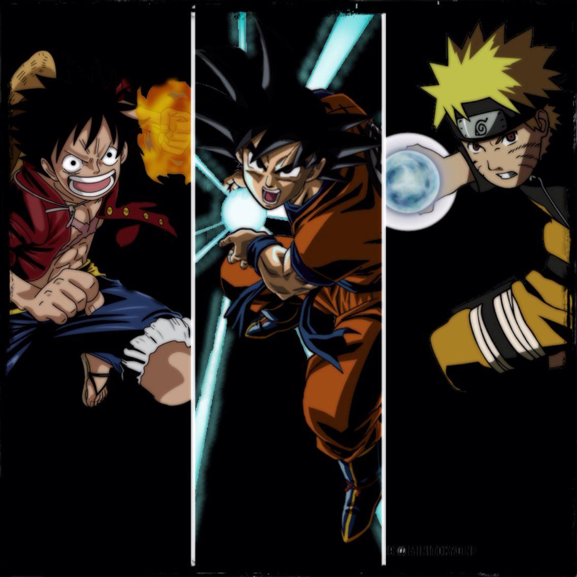 Luffy Goku And Naruto I Especially Love The Show One Piece Manga Anime Anime Crossover Anime Fantasy