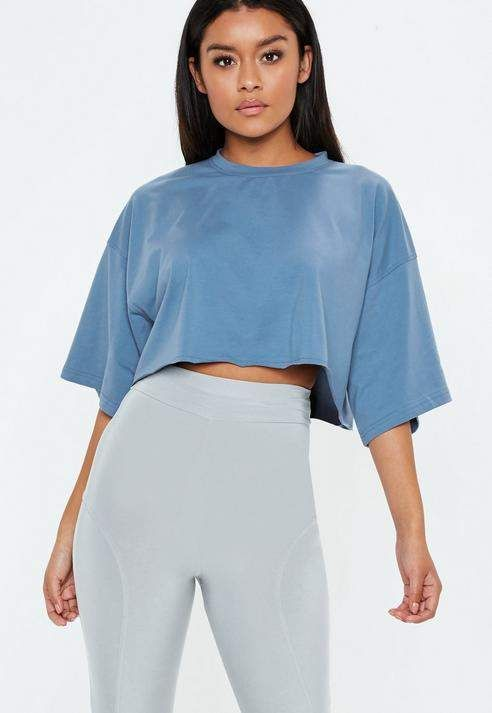 a1a1831b7cd Missguided Blue Drop Shoulder Oversized Cropped T Shirt | style ...