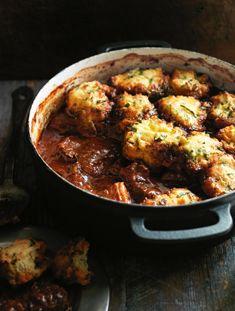 Smokey Chili Braised Beef with Cornbread Dumplings -  #Beef  #Cornbread  #Chili