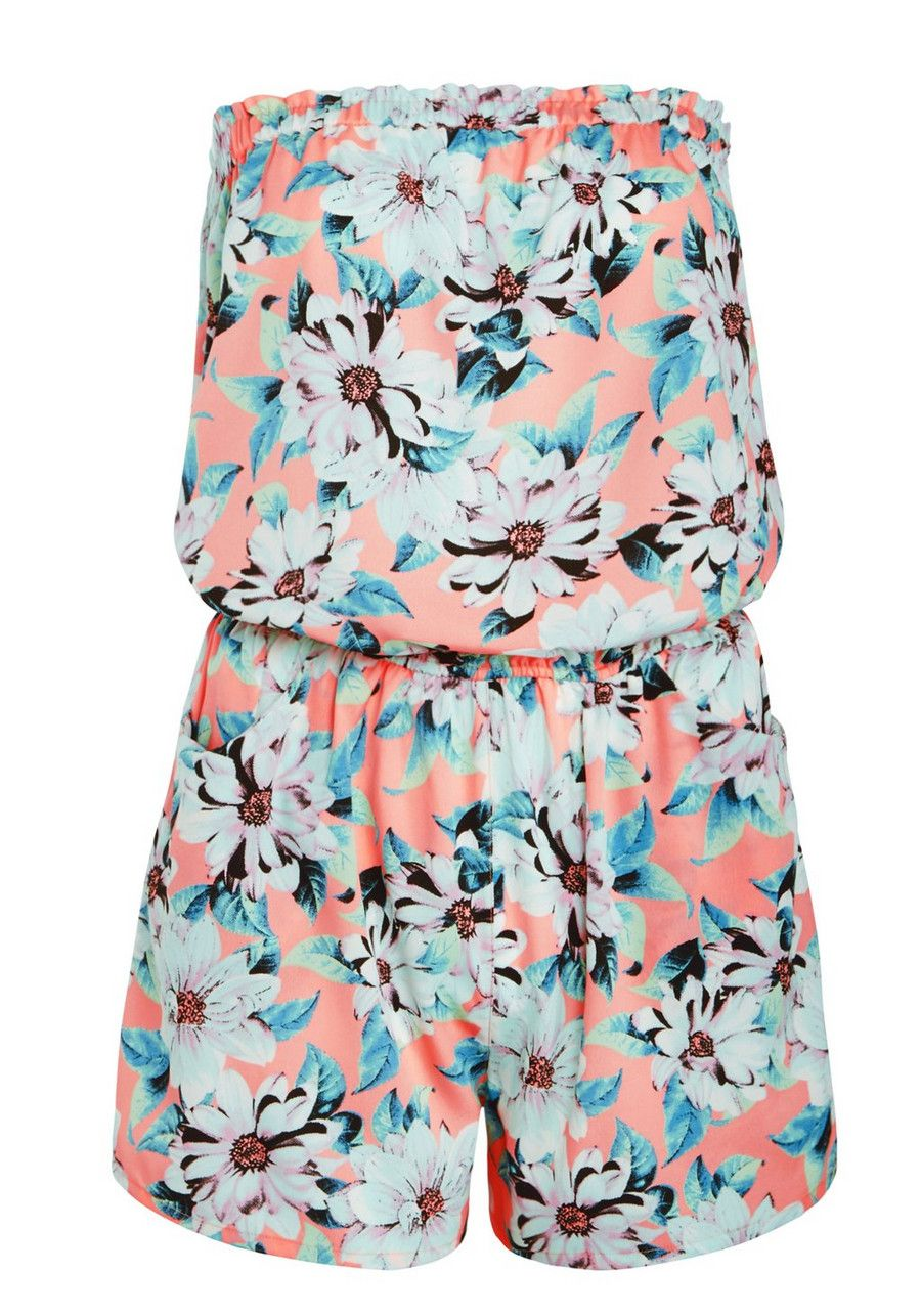 Clothing at Tesco | F&F Floral Print Bandeau Beach Playsuit ...