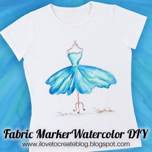 Ilovetocreate blog: watercolor shirt from tulip fabric markers +.