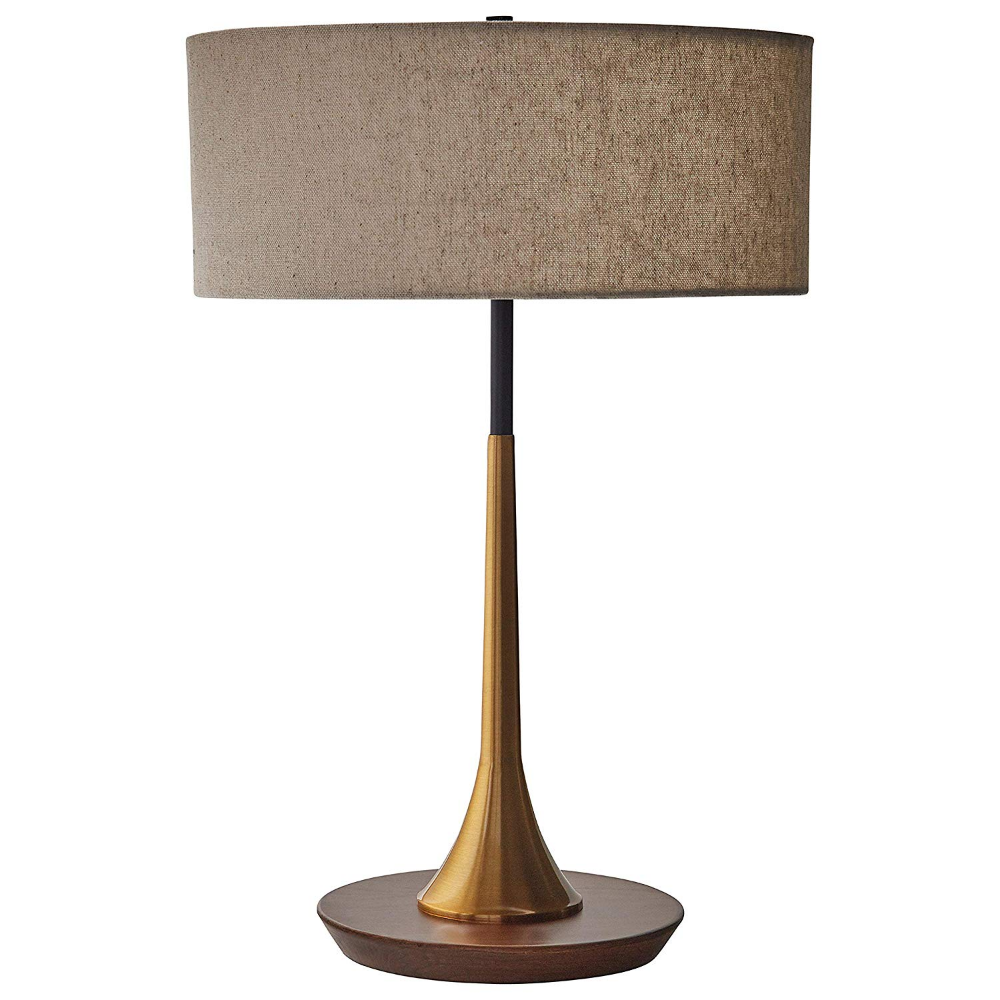 Rivet Mid Century Modern Curved Brass Table Desk Lamp With Led