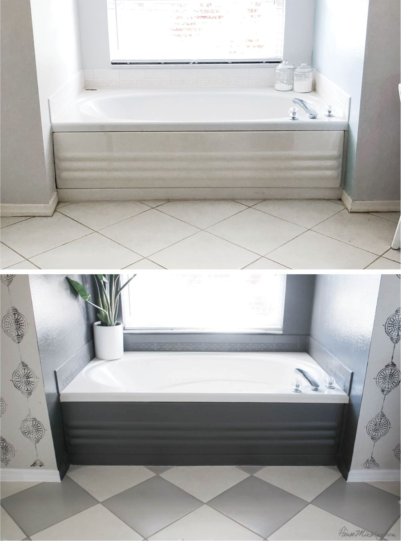 How To Paint Bathroom Tile Floor Shower Backsplash In 2020 Plastic Bathtub Craftsman Home Interiors Painting Bathroom Tiles