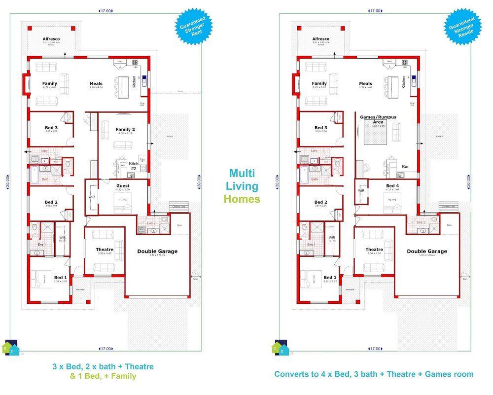 multi-living-home-design-perth-a-501 | floor plans - duplex