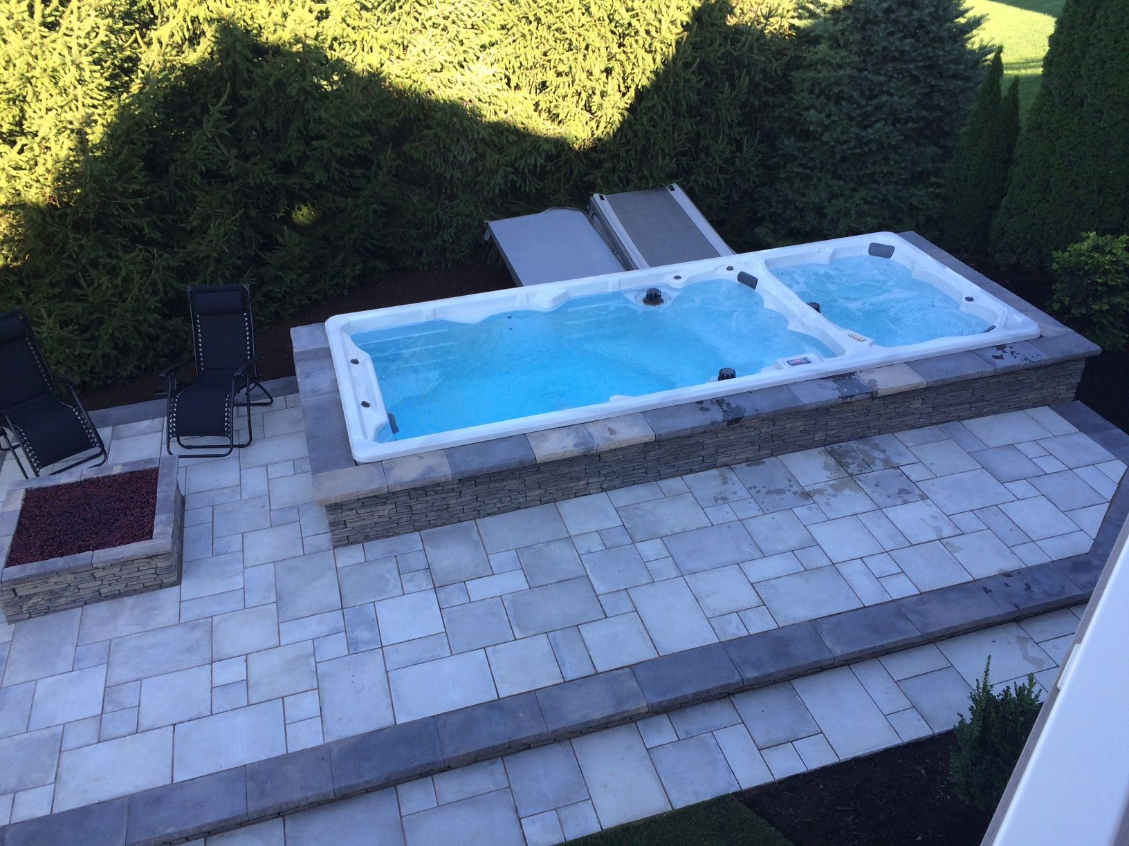 Hss19 Honey Swim Spa Build In To A Stone Patio Contact Us To Find