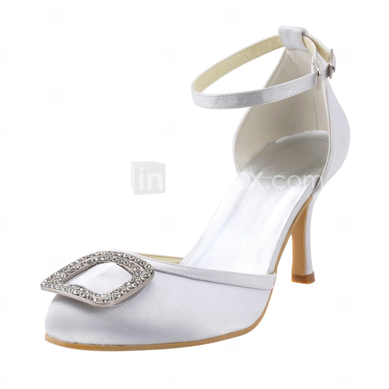 Elegant Satin Stiletto Heel Pumps With Rhinestone And Buckle