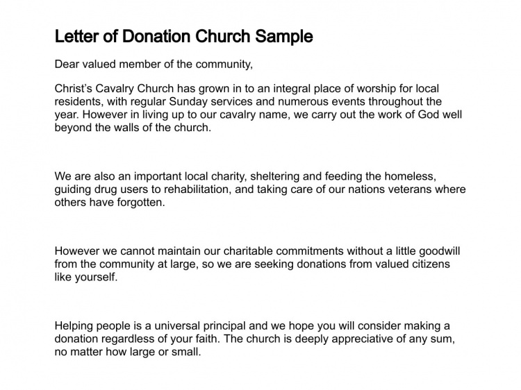 Sample Letter Asking For Donation