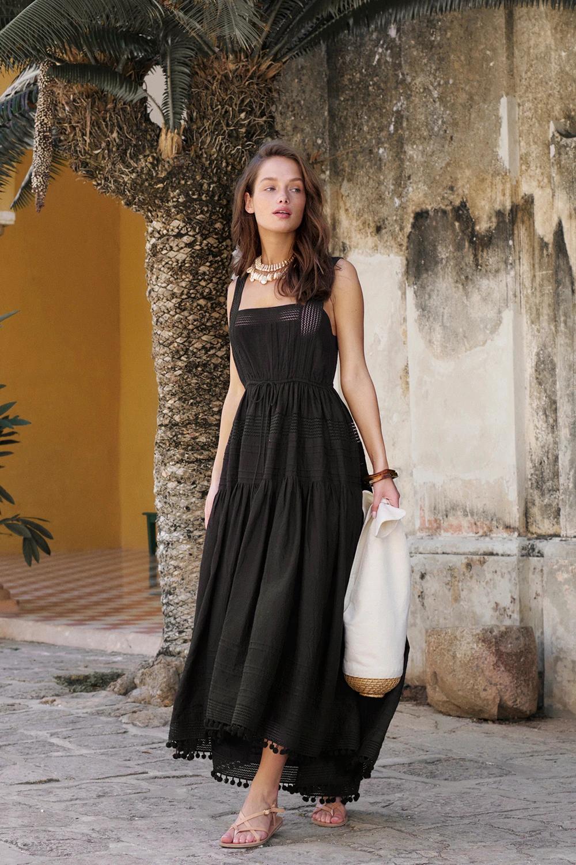 Daya Square Neck Midi Dress Black Black Midi Dress Dresses Square Neck Dress [ 1500 x 1000 Pixel ]