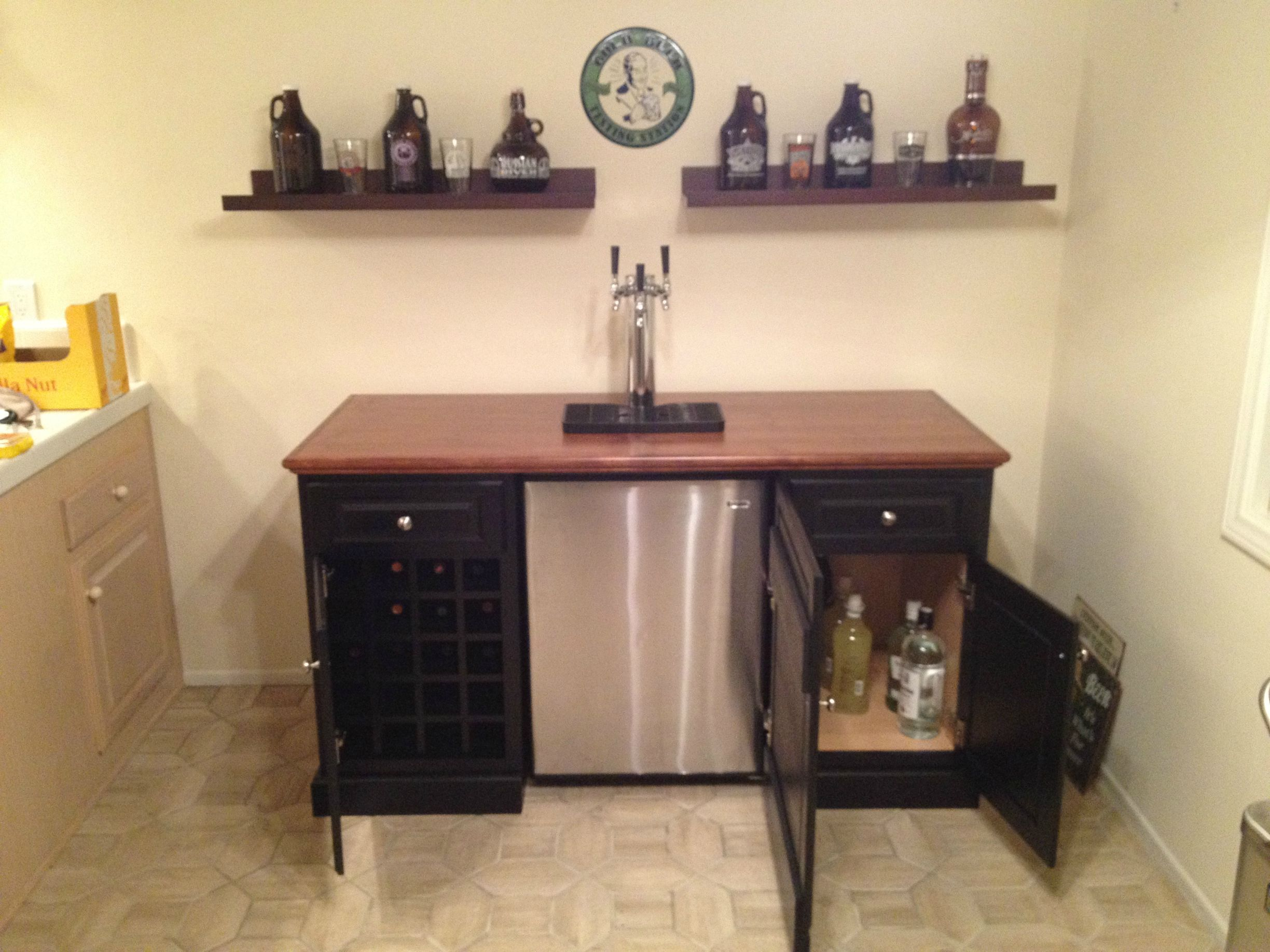 kegerator cabinet house and home pinterest bar areas bar hutch and mini fridge. Black Bedroom Furniture Sets. Home Design Ideas