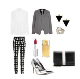 How to wear pant suits with geometrical pattern?