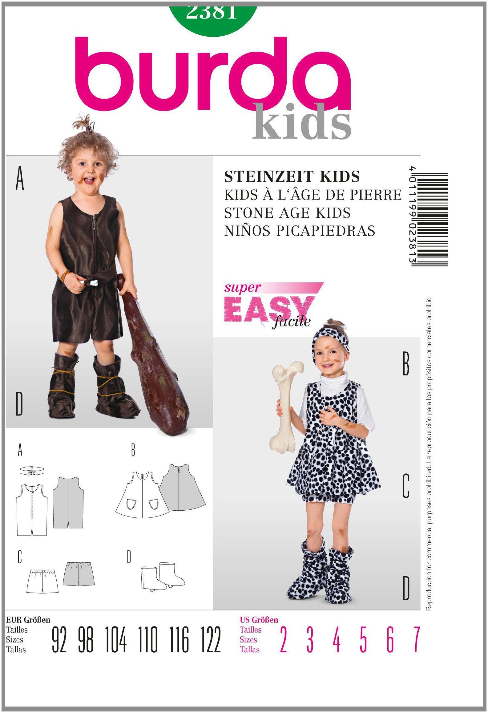 Burda Schnittmuster Steinzeit Kids Gr. 92 - 122: Amazon.de: Küche & Haushalt