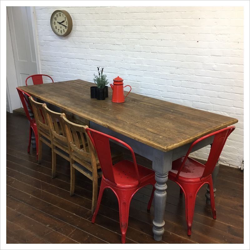 b63ab85bd45a A lovely rustic pine plank top farmhouse kitchen table.The table has a  classic turned