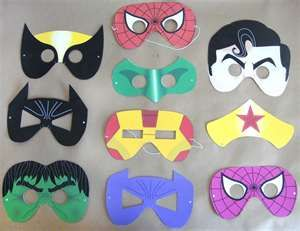 Printable super hero masks!! what a great idea for a birthday party craft!!!