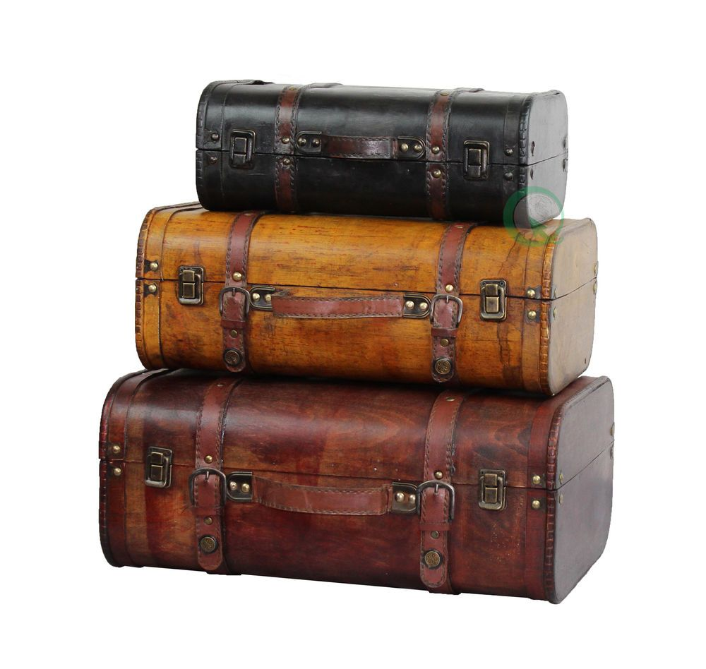 Details About Three Colored Vintage Style Luggage Suitcase   Set Of 3