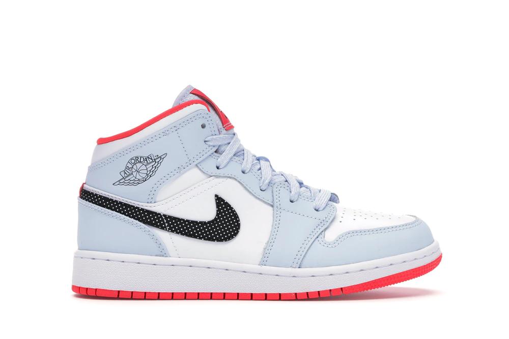 Jordan 1 Mid Half Blue Polka Dot Swoosh Gs Jordan 1 Mid All Nike Shoes Jordan 1