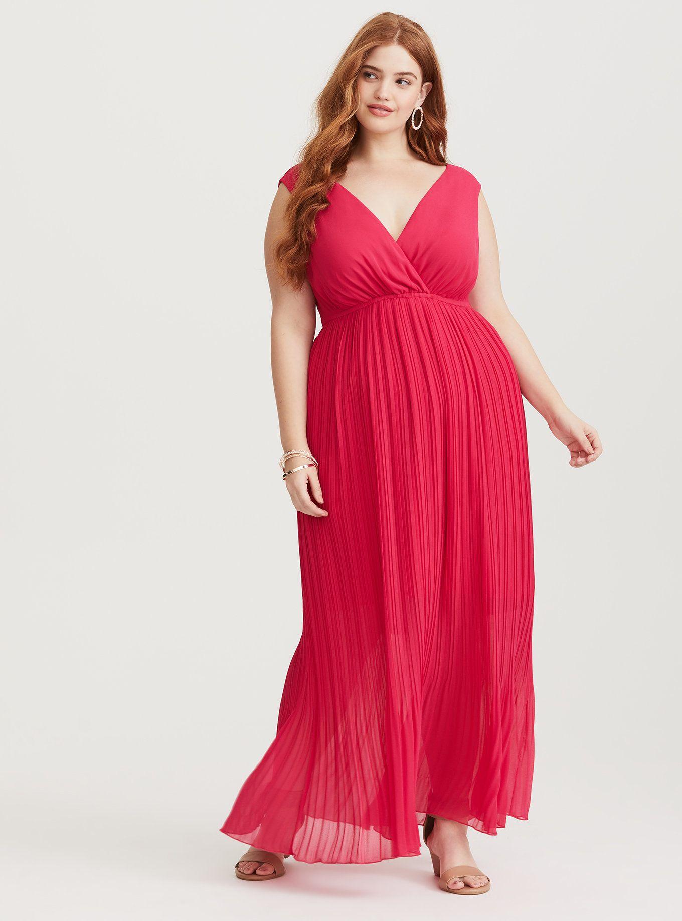 Hot Pink Plus Size Maxi Dress – DACC