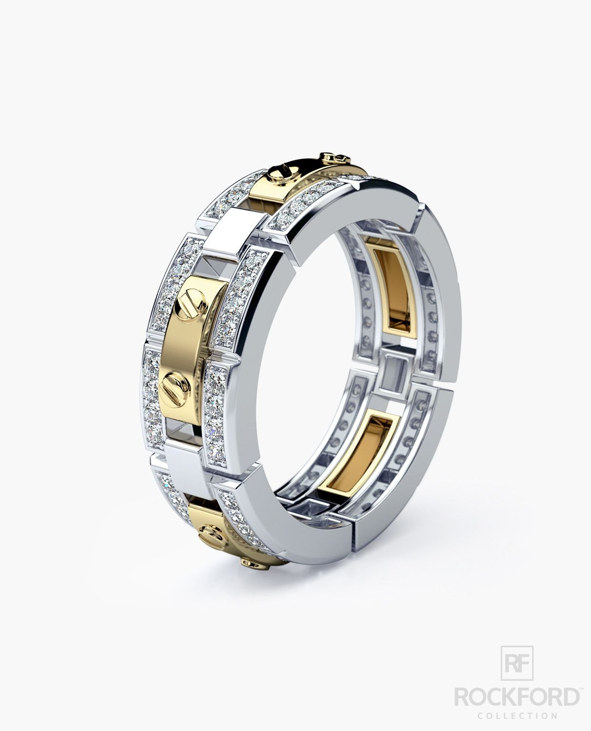 REX Mens TwoTone Gold Wedding Band with Diamonds Rings