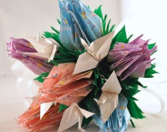 Butterfly Print  Origami Paper Crane Rose Bridesmaid Bouquet