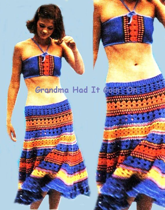 225e841e9a4029 Crochet Pattern - Maxi Salsa Calf Length Skirt and Bra Halter Top - PDF  Instant Download - 70s Beach