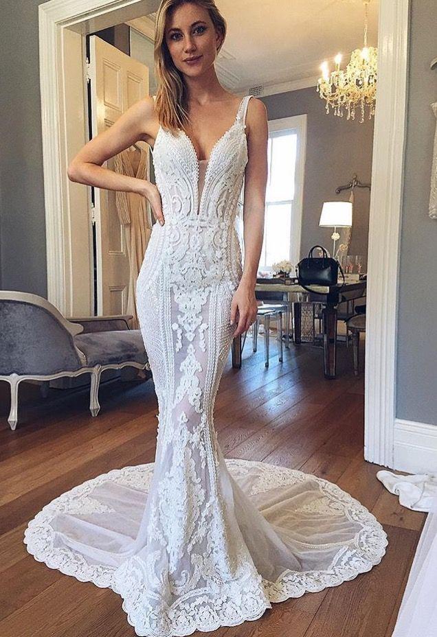 Pallas Couture Applique Wedding Dress Backless Wedding Dress