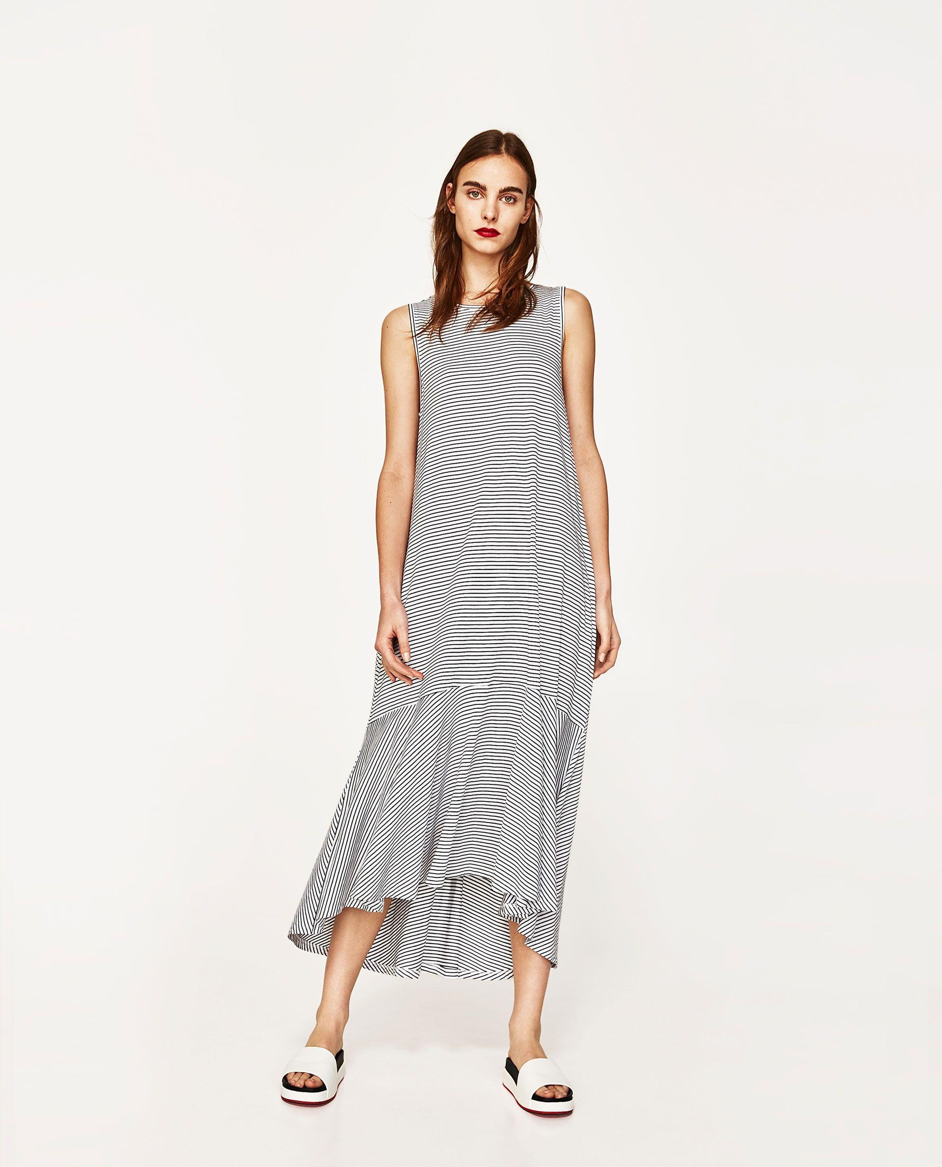Zara Dress Long Woman Ruffled Hem With qn08r0wv6x