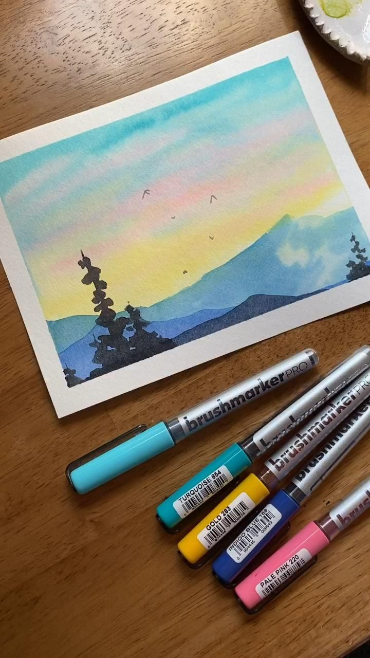 Watercolor landscape with Karin markers