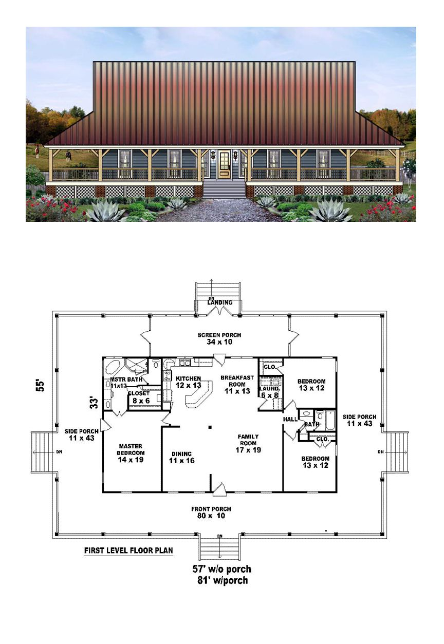 Country house plan 45764 total living area 1871 sq ft for 3 bedroom barndominium floor plans
