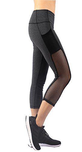 62d69bb680 Sugar Pocket Womens High Waist 3/4 Capri Running Leggings Tights ...