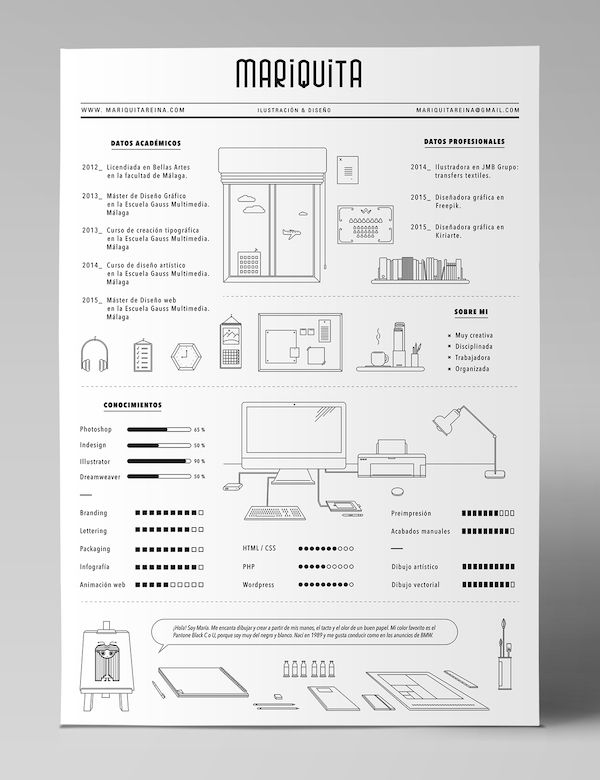 a designer u2019s quirky  minimalist  infographic-style r u00e9sum u00e9