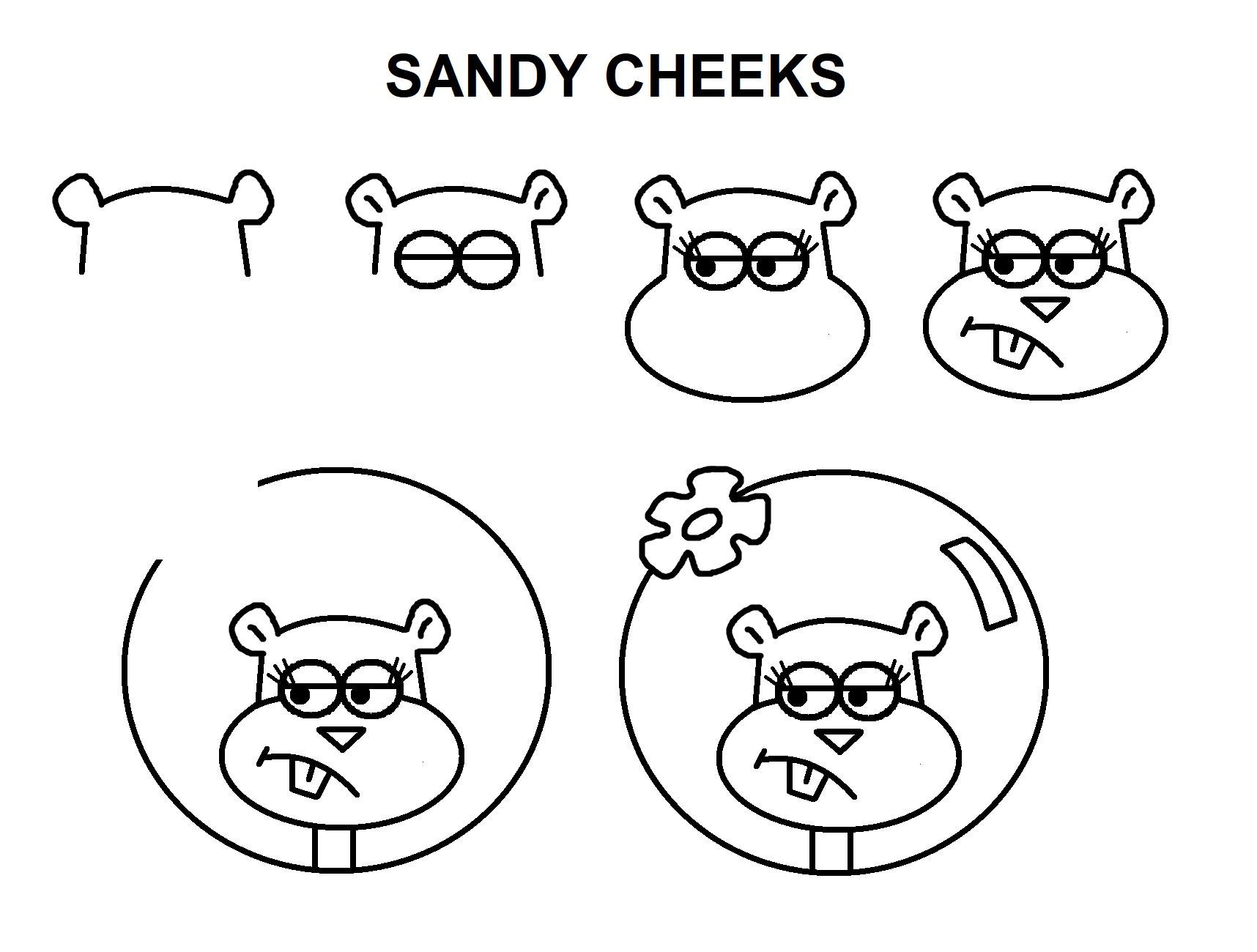 - Step-by-step Tutorial To Draw Sandy Cheeks. Sandy Cheeks