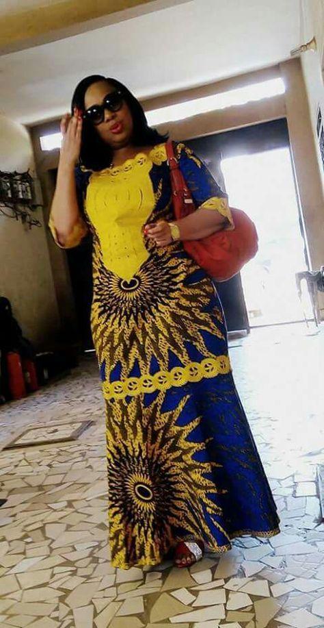 modele avec du pagne | African print clothing, African print dresses, African traditional dresses
