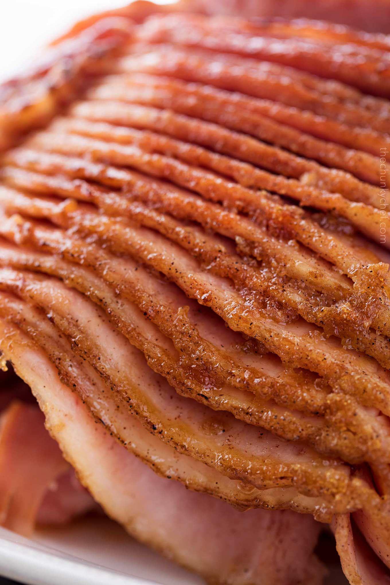 Slices of honey baked ham with glaze Honey baked ham