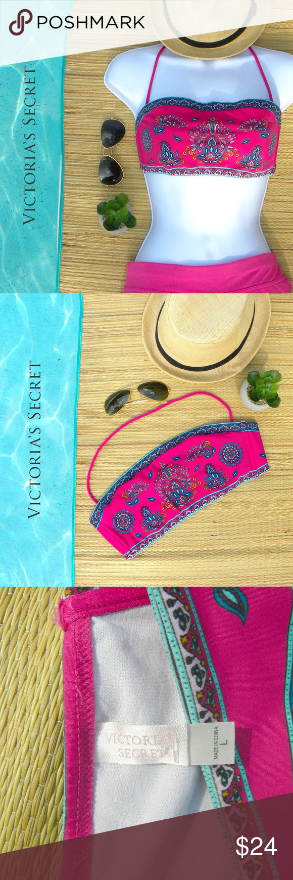 VICTORIA'S SECRET Bandeau Bikini Top Boho Pink This Victoria's Secret Bandeau Bikini top comes in a bright pink boho print. Ties at back in a fully adjustable scarf/bandana style. No cups or padding. Stays at sides. Detachable halter strap.  Fun for the beach, pool, or festival. EUC. Victoria's Secret Swim Bikinis