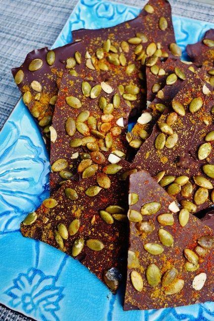 Pepita-Caynne-Curry Dark Chocolate Bark @ thekosherologist.com