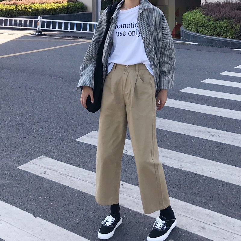 13.18US $ 5% OFF|Pants Women Simple Solid Elegant Loose Korean Style High Quality Female Cargo Trousers Womens Retro All match Summer Trousers|Pants & Capris|   - AliExpress
