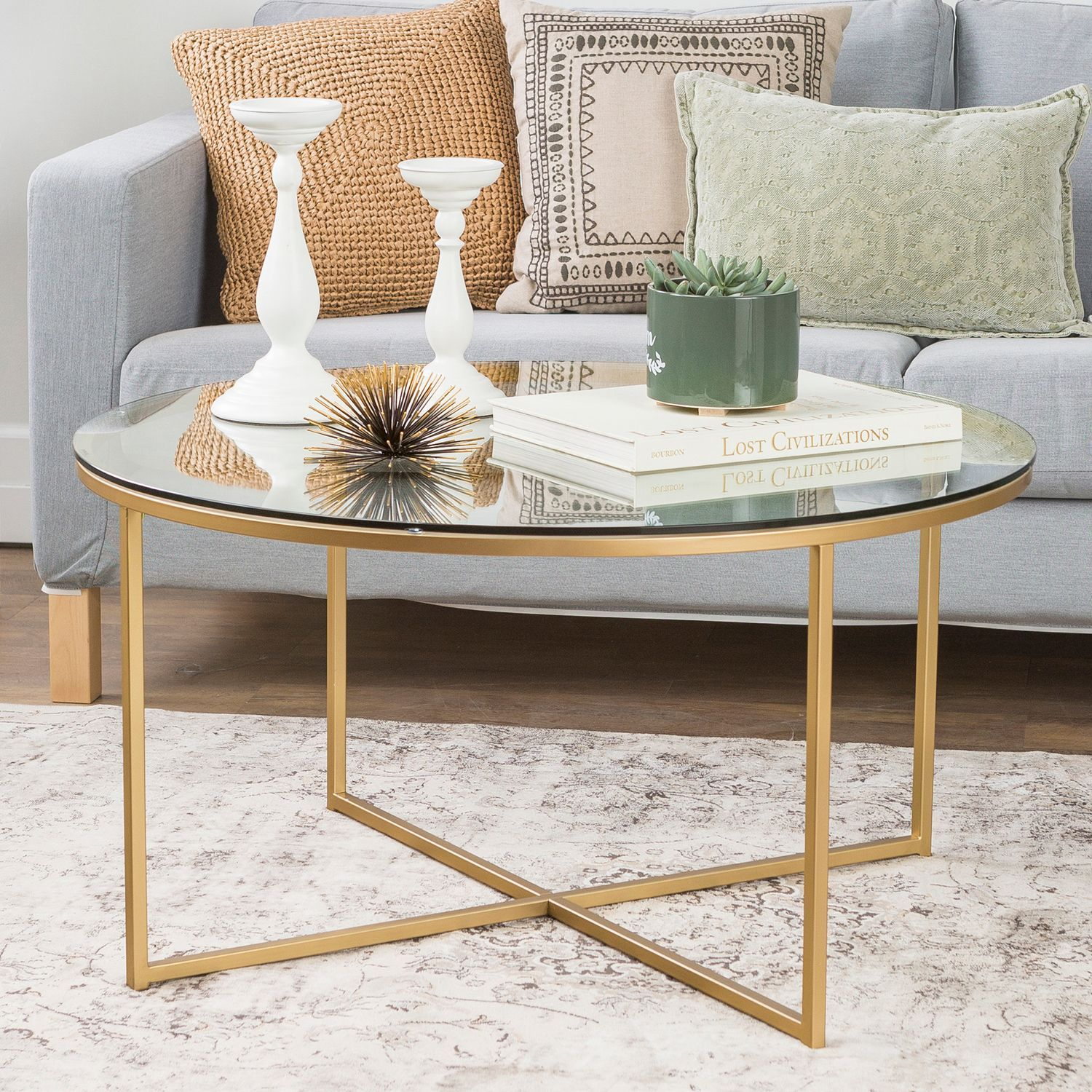 Glass coffee table with gold xbase faux marble coffee