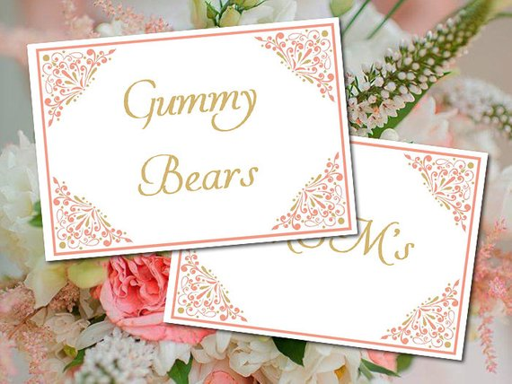 Fantastic Diy Wedding Candy Buffet Label Template Madison Coral Gold Download Free Architecture Designs Scobabritishbridgeorg