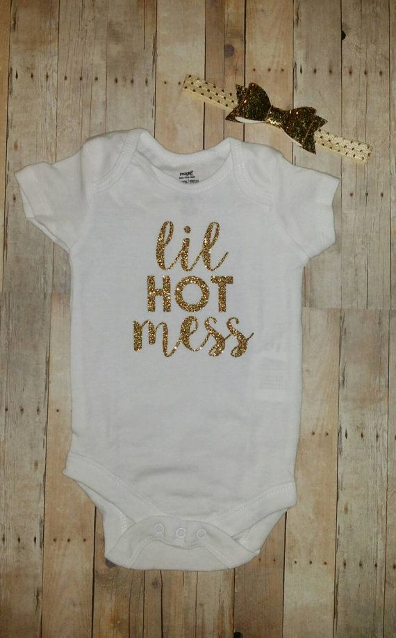 Lil hot mess baby girl white and gold glitter  Hey, I found this really awesome Etsy listing at https://www.etsy.com/listing/242575697/lil-hot-mess-baby-girl-white-and-gold
