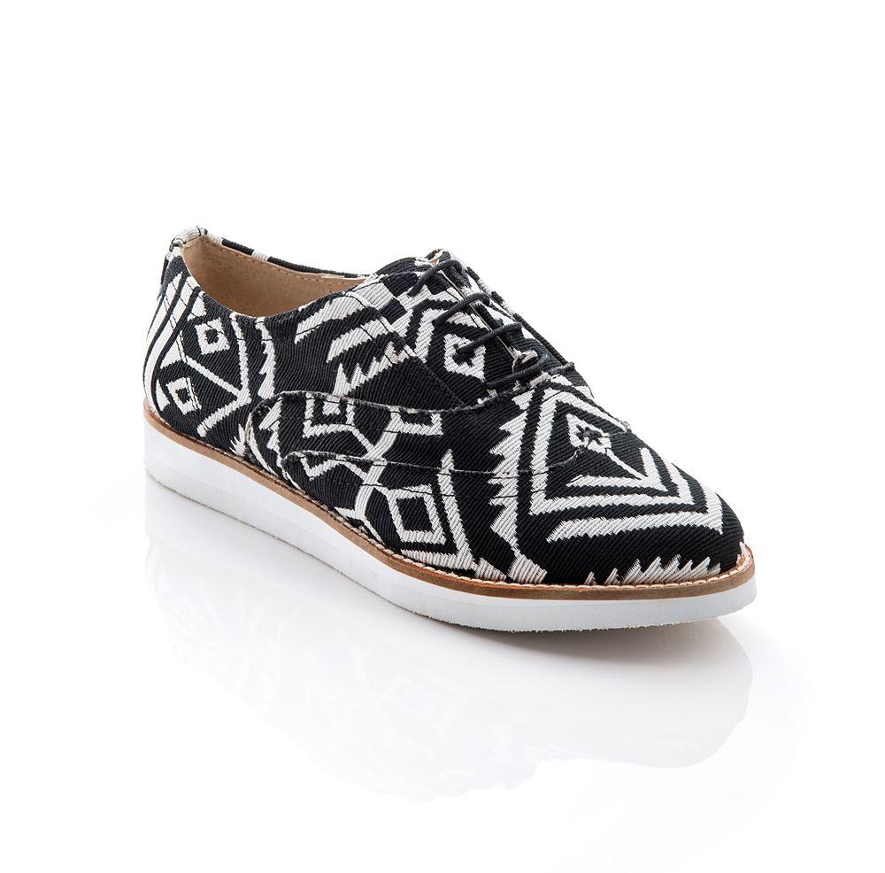 Black patent, Cognac #leather, Aztec fabric #shoe #graphic