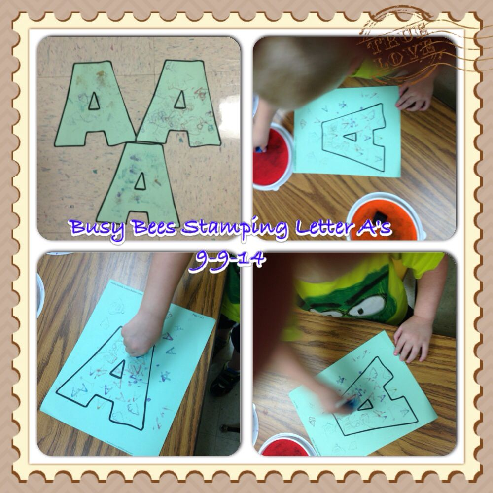 Stamping letter aus busy bees art time pinterest