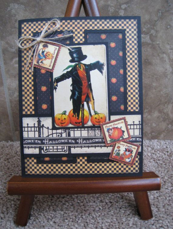 Vintage Handmade Halloween Card by TwoCraftyCreations on Etsy, $3.25